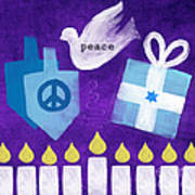 Hanukkah Peace Print by Linda Woods