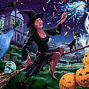 Happy Halloween Witch With Graveyard Friends Print by Martin Davey