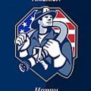 Happy Patriots Day God Bless America Retro Print by Aloysius Patrimonio