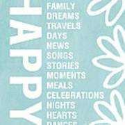 Happy Things Blue Print by Linda Woods