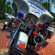 Harleys In Cincinnati 1 Print by Mel Steinhauer