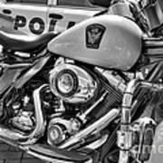 Harleys In Cincinnati 2 Bw Print by Mel Steinhauer