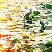 Heron Among Lillies Photography Light Leaks Print by Chris Andruskiewicz