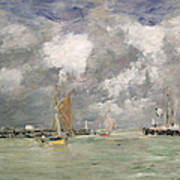 High Tide At Trouville Print by Eugene Louis Boudin
