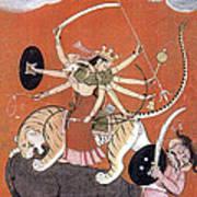Hindu Goddess Durga Fights Mahishasur Print by Photo Researchers
