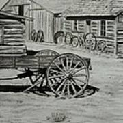 Historic Cabins Cody Wyoming Print by Lucy Deane