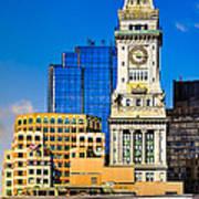 Historic Custom House Clock Tower - Boston Skyline Print by Mark E Tisdale