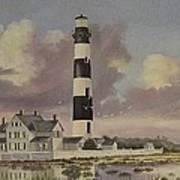 History Of Morris Lighthouse Print by Wanda Dansereau