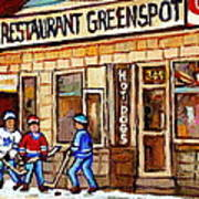 Hockey And Hotdogs At The Greenspot Diner Montreal Hockey Art Paintings Winter City Scenes Print by Carole Spandau