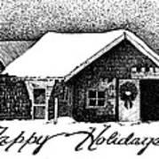 Holiday Barn Print by Joy Bradley