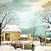 Home To Thanksgiving Print by Currier and Ives