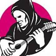Hooded Man Playing Banjo Guitar Print by Aloysius Patrimonio