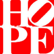Hope 20130710 White Red Print by Wingsdomain Art and Photography