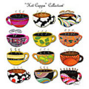 Hot Cuppa Whimsical Colorful Coffee Cup Designs By Romi Print by Megan Duncanson