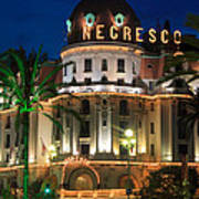 Hotel Negresco By Night Print by Inge Johnsson
