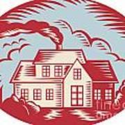 House Homestead Cottage Woodcut Print by Aloysius Patrimonio