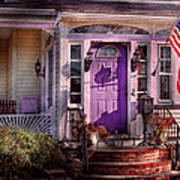 House - Porch - Cranford Nj - Lovely In Lavender  Print by Mike Savad