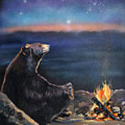 How Grandfather Bear Created The Stars Print by J W Baker