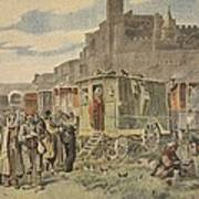 Hungarian Gypsies Outside Carcassonne Print by French School