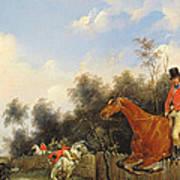 Hunting Scene Print by Bernard Edouard Swebach