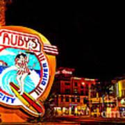 Huntington Beach Downtown Nightside 2 Print by Jim Carrell