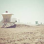 Huntington Beach Lifeguard Tower #1 Retro Photo Print by Paul Velgos