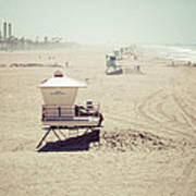 Huntington Beach Lifeguard Tower #1 Vintage Picture Print by Paul Velgos