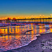 Huntington Beach Pier Sundown Print by Jim Carrell