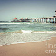 Huntington Beach Pier Vintage Toned Photo Print by Paul Velgos