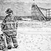 Hurricane Sandy Black And White Print by Jessica Cirz