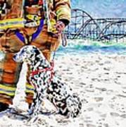 Hurricane Sandy Fireman And Dog  Print by Jessica Cirz