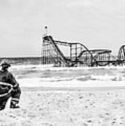 Hurricane Sandy Fireman Black And White Print by Jessica Cirz