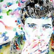 Ian Curtis Smoking Cigarette Watercolor Portrait Print by Fabrizio Cassetta