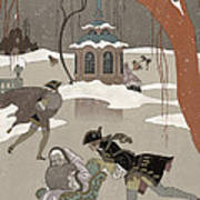 Ice Skating On The Frozen Lake Print by Georges Barbier