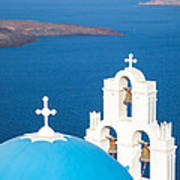 Iconic Blue Cupola Overlooking The Sea Santorini Greece Print by Matteo Colombo
