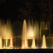 Illuminated Dancing Fountains Print by Sally Weigand