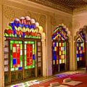 India, Stained Glass Windows Of Fort Print by Bill Bachmann