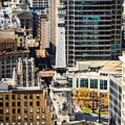Indianapolis Aerial Picture Of Monument Circle Print by Paul Velgos