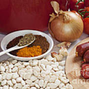 Ingredients For Spanish Chorizo Soup Print by Colin and Linda McKie