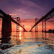 Into Sunrise - Bay Bridge Print by Jennifer Casey