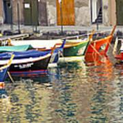 Italy Portofino Colorful Boats Of Portofino Print by Anonymous