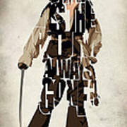 Jack Sparrow Inspired Pirates Of The Caribbean Typographic Poster Print by Ayse Deniz