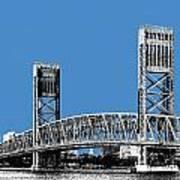 Jacksonville Skyline 2  Main Street Bridge - Slate Blue Print by DB Artist