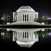 Jefferson Memorial - Night Reflection Print by Metro DC Photography