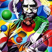 Jerry Garcia In Bubbles Print by Joshua Morton