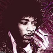 Jimi Hendrix Purple Haze Red Print by Tony Rubino