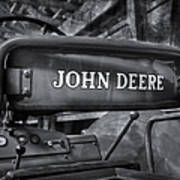John Deere Tractor Bw Print by Susan Candelario