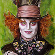 Johnny Depp As Mad Hatter Print by Melanie D