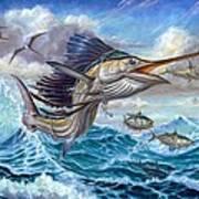 Jumping Sailfish And Small Fish Print by Terry Fox