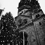 Kaiser Wilhelm Gedachtniskirche Memorial Church And Christmas Tree Berlin Germany Print by Joe Fox